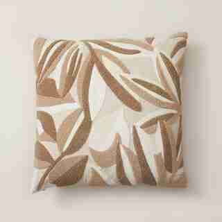 "OUI FALLING LEAVES EMBROIDERED PILLOW COVER TAUPE 18"" X 18"""
