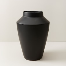 OUI MODERN TERRACOTTA vase WITH MATTE BLACK GLAZE LARGE