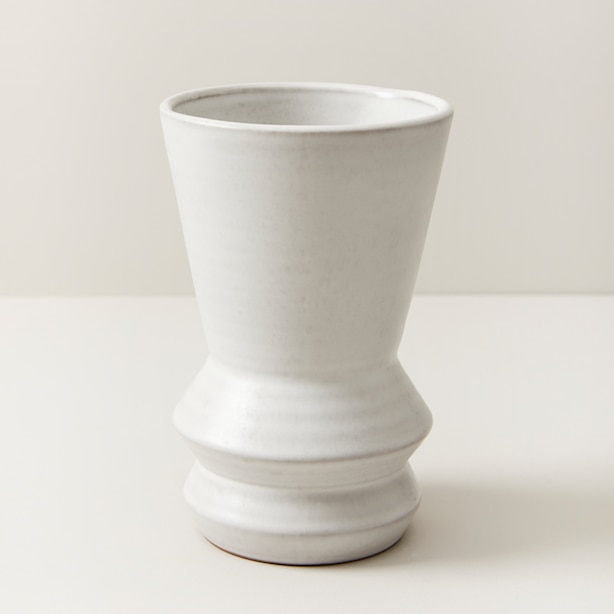 OUI MODERN TERRACOTTA vase WITH MATTE CREAM GLAZE MEDIUM