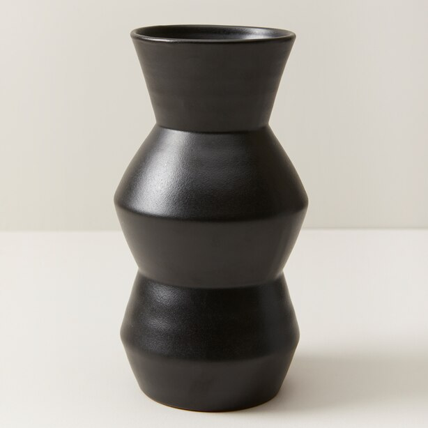 OUI MODERN TERRACOTTA vase WITH MATTE BLACK GLAZE MEDIUM