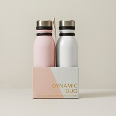 SET OF 2 WATER BOTTLES OPALESCENT AND PINK