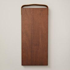 OUI RECTANGULAR WOOD SERVING BOARD WITH LEATHER HANDLE