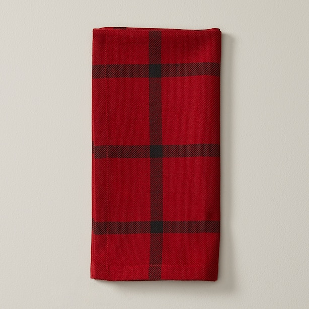 OUI RED & WHITE WINDOWPANE NAPKINS SET OF 4