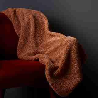 OUI SHAGGY FAUX-FUR THROW CAMEL