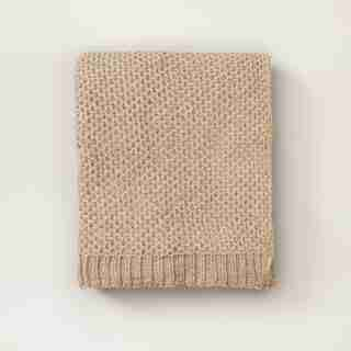 OUI HONEYCOMB CHENILLE THROW TAUPE