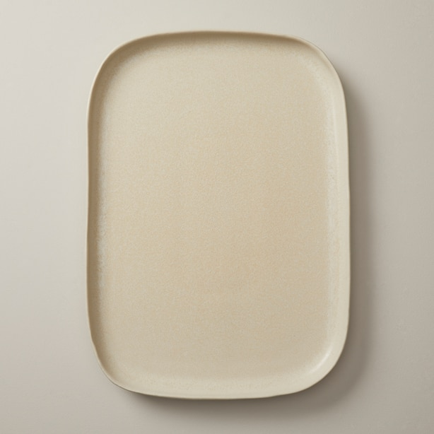 OUI ORGANIC STONEWARE SERVING TRAY IVORY LARGE