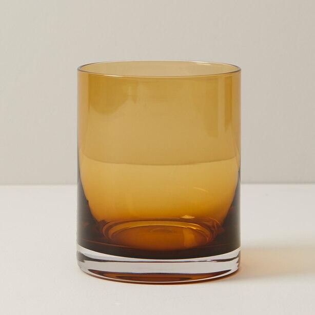 SET OF 4 LOWBALL GLASS, AMBER