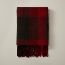 OUI MONDO PLAID BERRY RED SUPER-SOFT THROW BLANKET