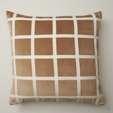 "OUI EMBROIDERED GRID TAUPE PILLOW COVER 18"" X 18"""
