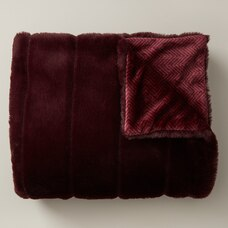 FAUX-FUR THROW – BURGUNDY & HERRINGBONE