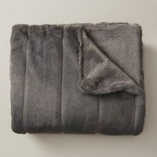 FAUX-FUR THROW – MEDIUM GREY & HERRINGBONE