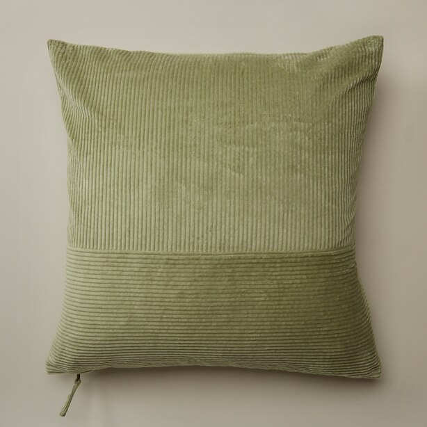 "OUI PIECED CORDUROY PILLOW COVER OIL GREEN 20"" X 20"""