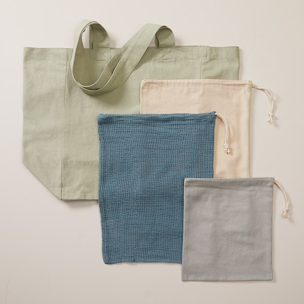 OUI MARKET TOTE AND SHOPPING SET COOL TONES SET OF 4
