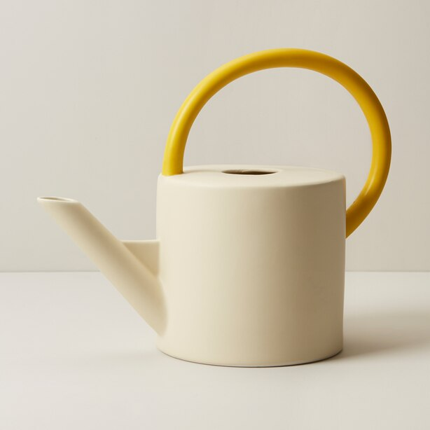 OUI WATERING CAN BISQUE SUNFLOWER
