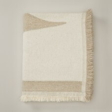 OUI JACQUARD THROW BLANKET IVORY FROND
