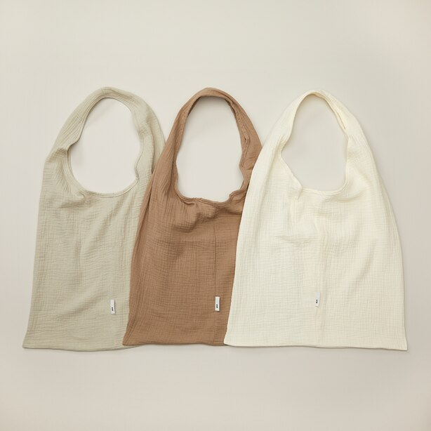 OUI COTTON MUSLIN MARKET BAGS NEUTRAL TONES SET OF 3