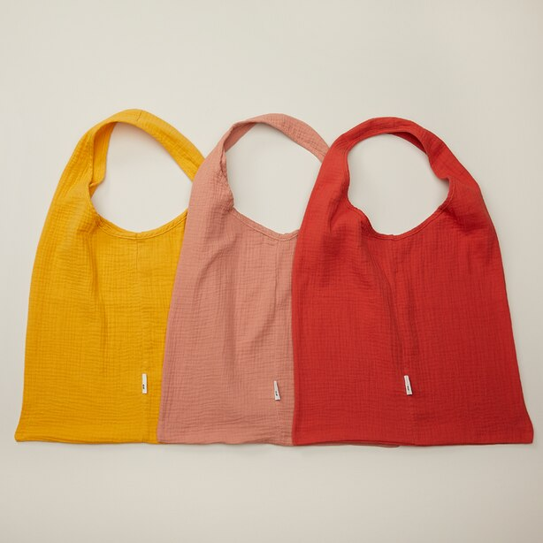 OUI COTTON REUSABLE BAGS WARM TONES SET OF 3