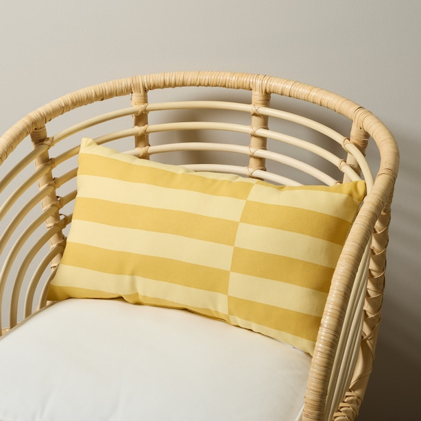 "OUI BROKEN STRIPE OUTDOOR PILLOW SUNFLOWER 18"" X 18"""