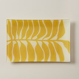 OUI RECTANGULAR GLASS TRAY SUNFLOWER FRONDS