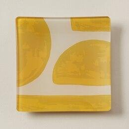 OUI SMALL SQUARE GLASS TRAY ABSTRACT SUNFLOWER