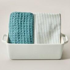 Stoneware Loaf pan & tea towel set, Mint/Spiral