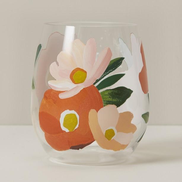 OUI ACRYLIC STEMLESS WINE GLASS GERBERA DAISY