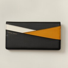 LOVE AND LORE COLOURBLOCK TRAVEL WALLET BLACK & YELLOW