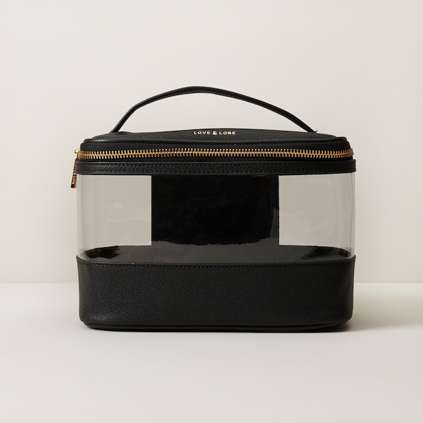 LOVE AND LORE CLEAR COSMETIC CASE BLACK