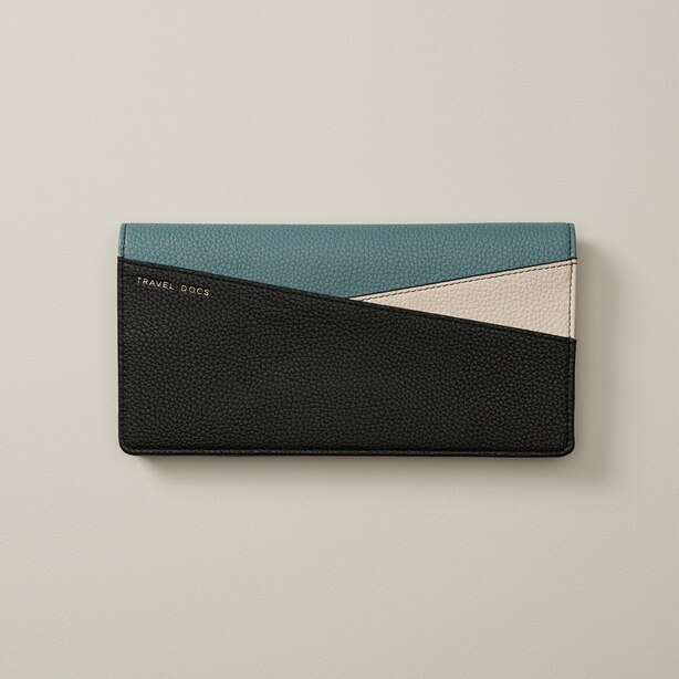 LOVE AND LORE BLACK AND IVORY TROOPER COLOUR BLOCK TRAVEL WALLET