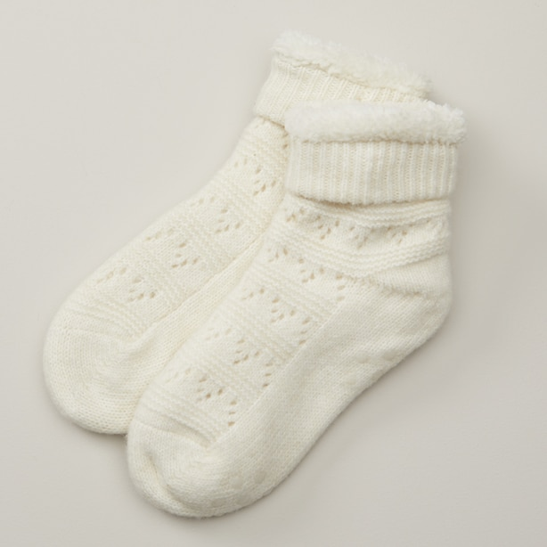 Pointelle Lo-Rise Reading Socks Ivory White