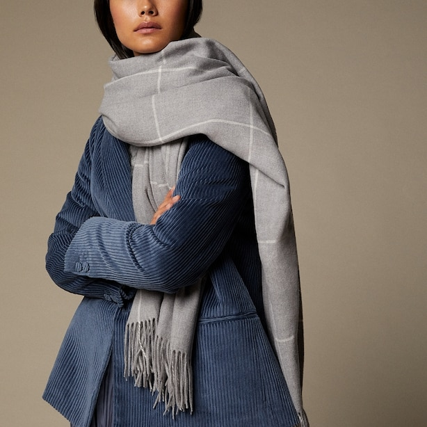 LOVE AND LORE SUPERSOFT  SCARF HEATHER GREY WINDOWPANE