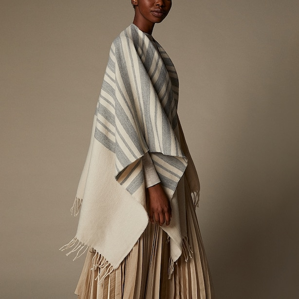 LOVE AND LORE VARIEGATED STRIPE WRAP OATMEAL
