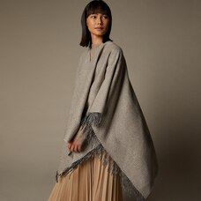 LOVE AND LORE SUSTAINABLE STYLE ECO HERRINGBONE WRAP OATMEAL HEATHER