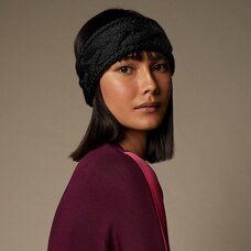 LOVE AND LORE SUSTAINABLE STYLE ECO CABLE KNIT HEADBAND BLACK