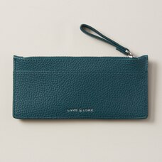 LOVE AND LORE ZIPPERED CARDHOLDER DEEP TEAL