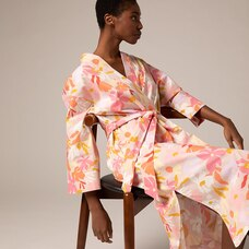 LOVE AND LORE POPLIN PRINT ROBE CORAL REEF FLORAL SMALL-MEDIUM