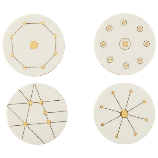 White Resin & Brass Deco Lines Round Coasters Set of 4 with Belly Band