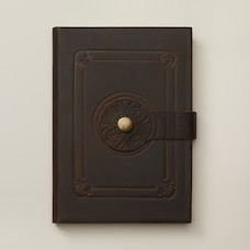 Leather Journal Lined Roma Button