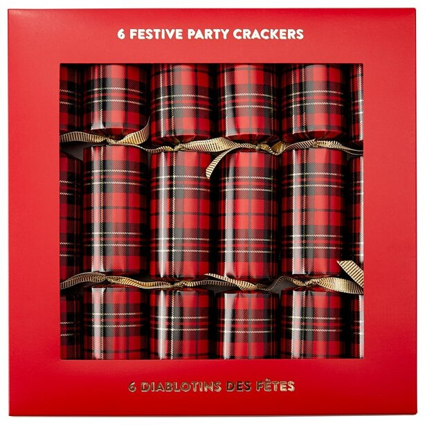 LUXURY PARTY CRACKERS RED PLAID SET OF 6