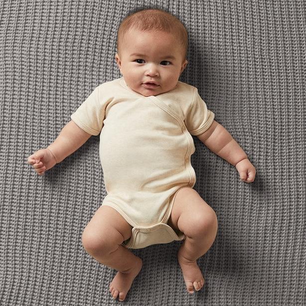 THE LITTLEST ORGANIC KIMONO BODYSUIT - OATMEAL BABY 0-3 MONTHS