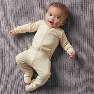 THE LITTLEST ORGANIC ZIP SLEEPER - OATMEAL BABY 0-3 MONTHS