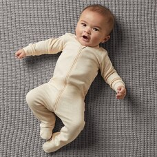 THE LITTLEST ORGANIC ZIP SLEEPER - OATMEAL BABY 6-12 MONTHS