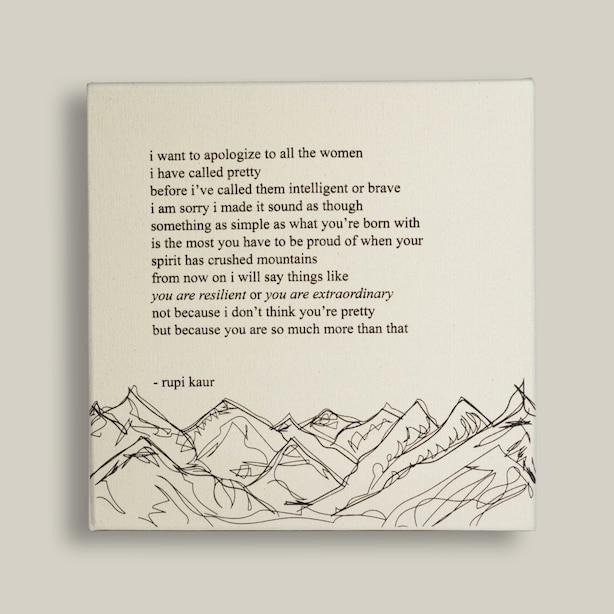 "Rupi Kaur To All The Women Canvas Art 12"" x 12"""