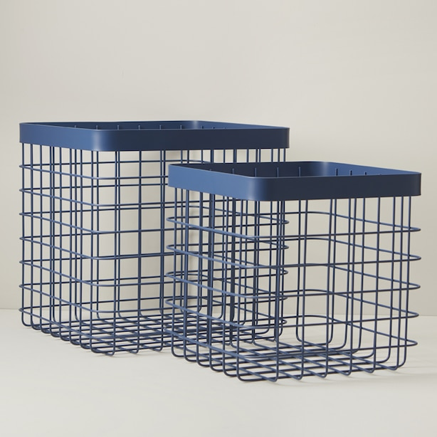 OUI SQUARE WIRE STORAGE BASKETS NAVY SET OF 2