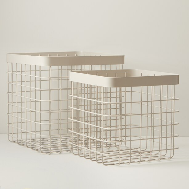 OUI SQUARE WIRE STORAGE BASKET TAN SET OF 2