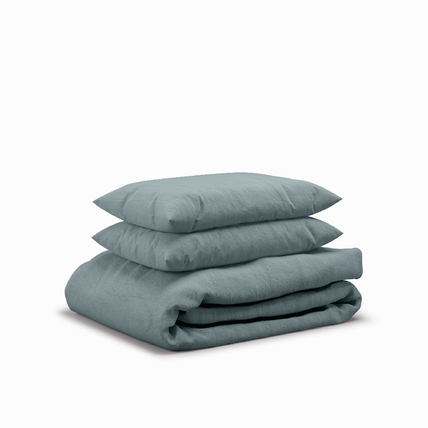 Flax Sleep Linen Duvet Set — Mist, Queen