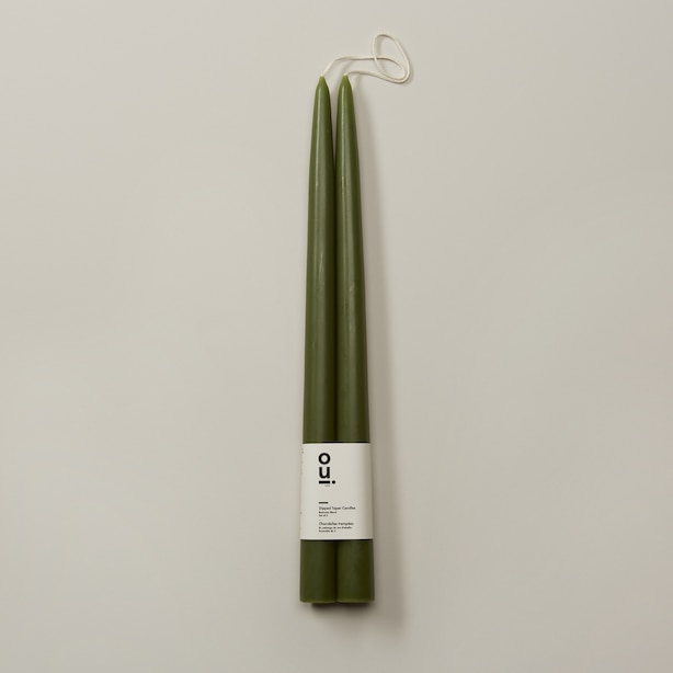 "OUI X ROOT 12"" DIPPED TAPER CANDLES DARK OLIVE SET OF 2"