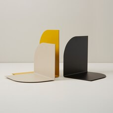 OUI ROUNDED METAL BOOKENDS YELLOW SET OF 3
