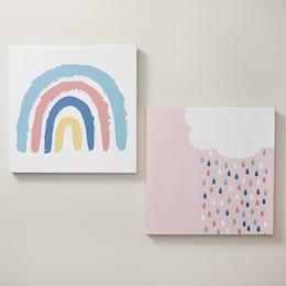 MINI MAISON RAINBOW CANVAS WALL ART SET OF 2