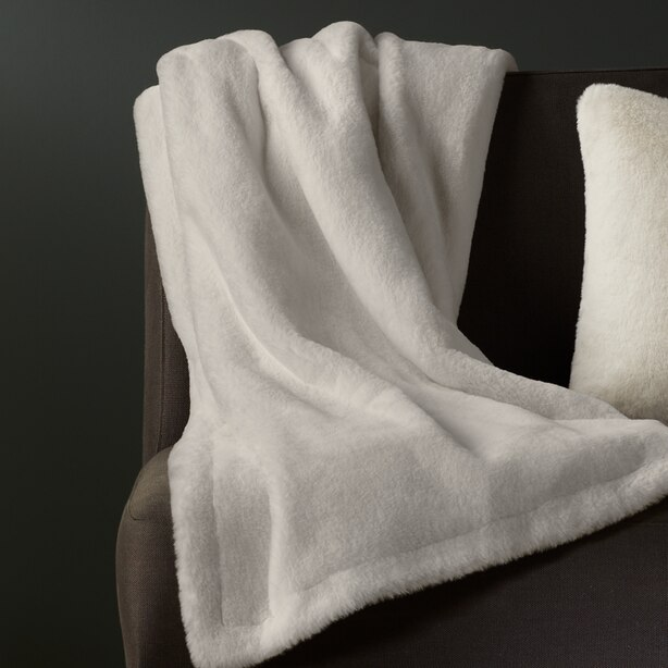 FAUX FUR LIGHT GREY HEATED BLANKET